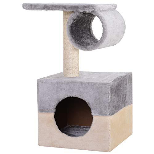 PawHut Rascador Árbol para Gatos Poste Centro 31x31x58cm Arañar Dormir Jugar Felpa Casa Cama
