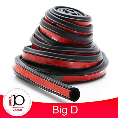 Tira de sellado para puerta de coche, autoadhesiva, de goma, tipo D, Z, P, aislamiento de ruido, antipolvo, aislamiento acústico, accesorios interiores (nombre del color: Big D, tamaño: 4 metros)