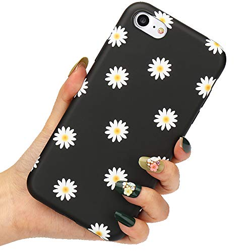 LLZ.COQUE for iPhone 6 iPhone 6S Case Cute Daisy Flowers Phone Case Shockproof Soft Silicone Cover Slim Fit Cute Floral Print Anti Slip Bumper Protective Matte Case for iPhone 6 iPhone 6S