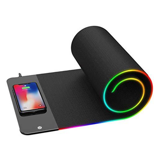 GPWDSN Gaming-muismat, RGB, extra breed, van zachte stof, waterwasbaar, met gekleurd LED-licht, antislip rubberen basis en draadloze oplaadfunctie