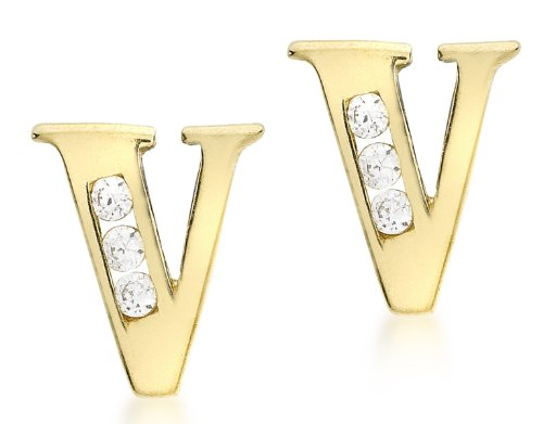 Carissima Gold 9ct Yellow Gold Cubic Zirconia 'V' Initial Stud Earrings