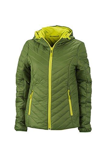 James & Nicholson Damen Lightweight Jacket Jacke, Grün (Jungle-Green/Acid-Yellow), 36 (Herstellergröße: M)
