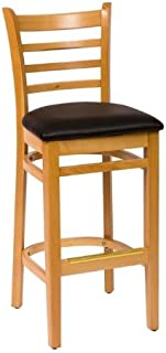 BFM Burlington Ladder Back Barstool Natural Black Vinyl Seat Model Lwb101Ntblv