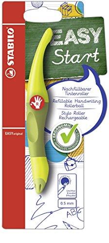 Ergonomischer Tintenroller für Rechtshänder - STABILO EASYoriginal in limone/grün - Einzelstift - Schreibfarbe blau (löschbar) - inklusive Patrone