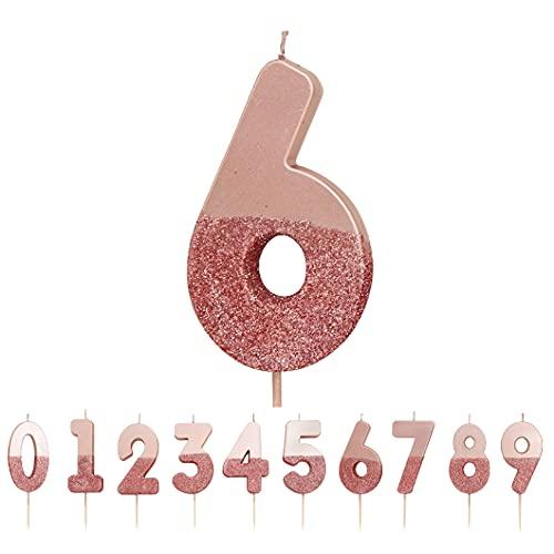 Vela Número 6 Con Brillo De Oro Rosa  Decoración para tartas de calidad superior Bonita, brillante  Para niños, adultos, fiesta de cumpleaños número 16, 60, aniversario, hito