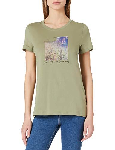 Esprit 021ee1k336 T-Shirt, Kaki Clair (345), M Femme