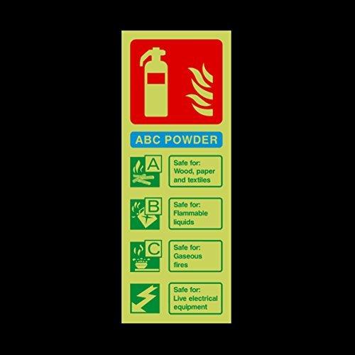 ABC Poeder Brandblusser Gids Photoluminescent Grappige Waarschuwing Stickers voor Eigendom, Veiligheidsbord Sticker Labels, Zelfklevende Vinyl Decal