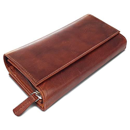 ROYALZ Vintage Leder Geldbörse für Damen Portemonnaie groß mit vielen Fächern RFID-Blocker Brieftasche Querformat, Farbe:Roma Cognac Braun