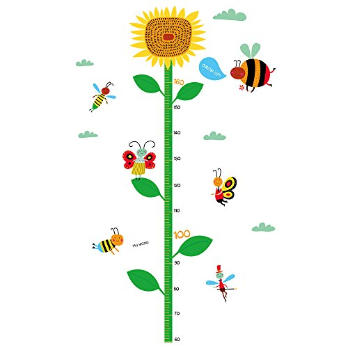 Winhappyhome Sunflower Children's Height Growth Measurement Chart Art Muraux Stickers pour Kids Room Garderie Kindergarten Décalcomanies Décor Amovibles
