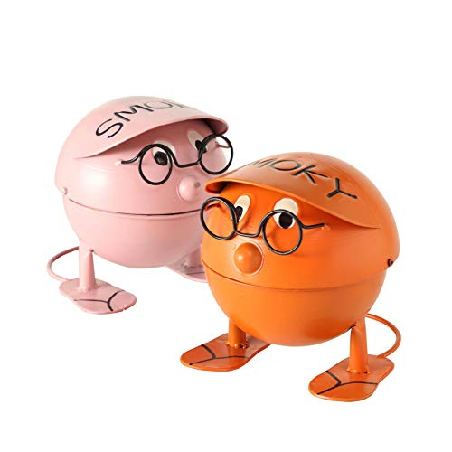 Metall Aschenbecher 2er Set farblich sortiert Ascher Windascher Sturmaschenbecher Kugelgrill Design rosa und orange 16x16x14cm Brillen Männchen mit Aufschrift Smoky