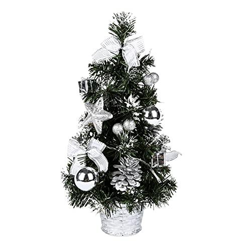 Monnadu Mini árbol De Navidad con Luces LED Multicolor, Mini árbol De Navidad Artificial De Mesa, árbol De Navidad para Mesa/Escritorio, Centro Comercial De Oficina En Casa Plata A