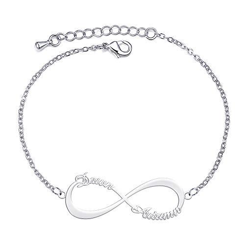 Dreamdecor Personalisierte Silber Armband, Armband mit Unendlichkeitszeichen Anhänger, Anpassbar Namen für Damen Mutter Pärchen, Rosegold Gold Schmuck Geschenk