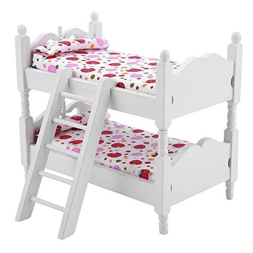 Litera para muñecas, casa de juguetes mini de doble capa, modelo de litera, juguetes de cama 1:12 (fresa rosa)