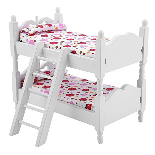Zerodis Puppe Etagenbett 1:12 Holz Kinder Schlafzimmer Modell Spielzeug Miniatur Möbel Szene Requisiten Mini Puppenhaus Zubehör für Jungen Mädchen Geschenk(Rosa Erdbeere)
