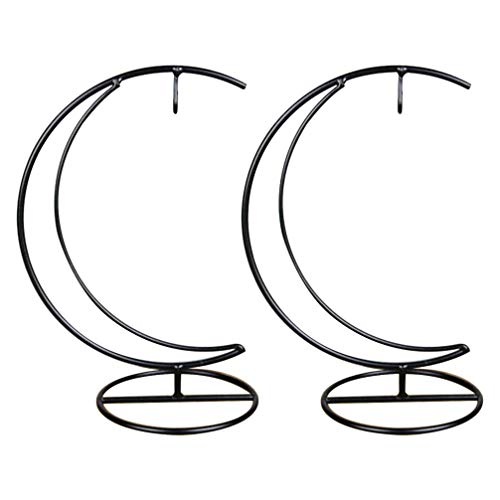 BESPORTBLE 2Pcs Ornament Display Stand Iron Hanging Moon Shaped Rack Holder for Hanging Glass Globe Air Plant Terrarium Witch Ball Home Wedding Decoration