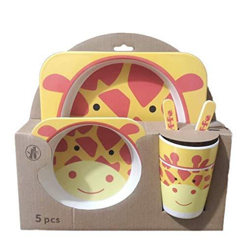 LOKKSI - Juego de vajilla infantil de fibra de bambú con diseño de dibujos animados, para fiestas de cumpleaños y niños, color amarillo