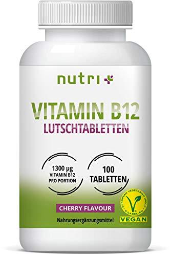 Vitamine B12 Tabletten - veganistisch en hoog gedoseerd - 1300µg (mcg) 100 veganistische tabletten om te zuigen - actieve methylcobalamine - smaak kerselaar