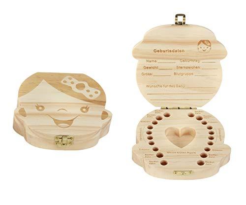 Holz Zahndose für Mädchen - Milchzahn Dose Milchzähne Box Zahn Döschen Geschenkidee