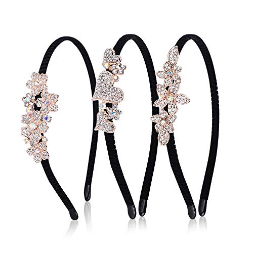 Yemiany Kristall Perlen Stirnband, Hochzeit Stirnband, 3 verschiedene Arten Strass Blume Herz Haarspangen Prinzessin Party rutschfeste Flanell Stirnband für Frauen Damen Mädchen Haarstyling Zubehör