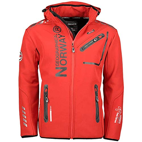 Geographical Norway Herren Softshell Outdoor Jacke Rainman Turbo-Dry Kapuze (L, Red)