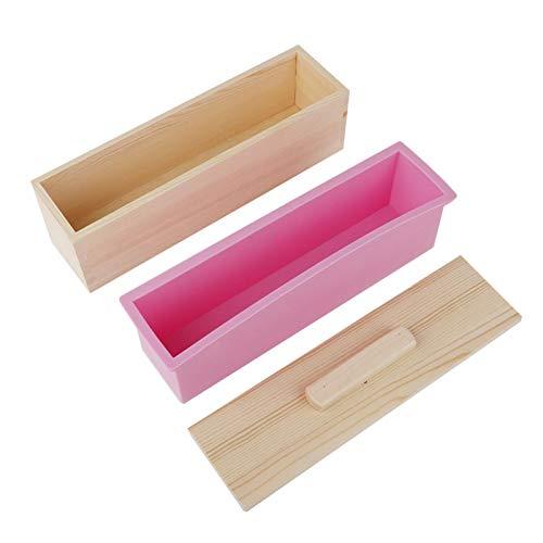 Molde de silicona para jabón Caja de madera, Rectángulo de silicona Molde para jabón hecho en casa para suministros, jabón, velas, pasteles y herramienta para hacer bricolaje