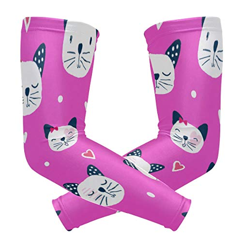 SLHFPX Arm Sleeves Cute Cat Pink Mens Sun UV Protection Sleeves Arm Warmers Cool Long Set Covers
