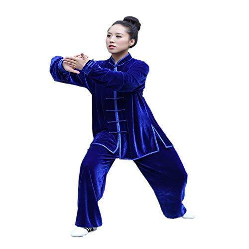 Abbigliamento Tai Chi Addensare Tenere Caldo Tai Chi Uniforme Abbigliamento Kung Fu Qi Gong Abbigliamento per Arti Marziali Abbigliamento Performance di Gruppo Tuta Tang Autunno Inverno Stile,Blue2-M