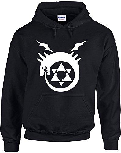 Print Wear Clothing Fullmetal Alchemist Homunculus, Seven Deadly Sins, Anime, Manga inspiré Imprimé Sweat à Capuche - Noir/Blanc M= 96/101 cm