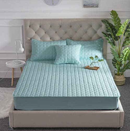 GSYHZL Soft Deep Pockets Fitted Sheet,Cotton super king-size bed fitted sheets, hotel apartment quilted non-slip double mattress protector-M_135cmx200cm+30cm