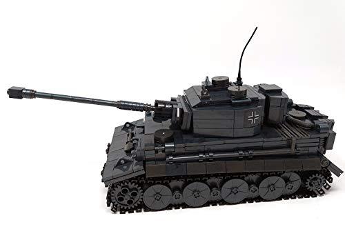 Brigamo Bausteine Panzer Tiger Sd.Kfz.181 inkl. Panzergeneral Figur, 1200 Klemmbausteine