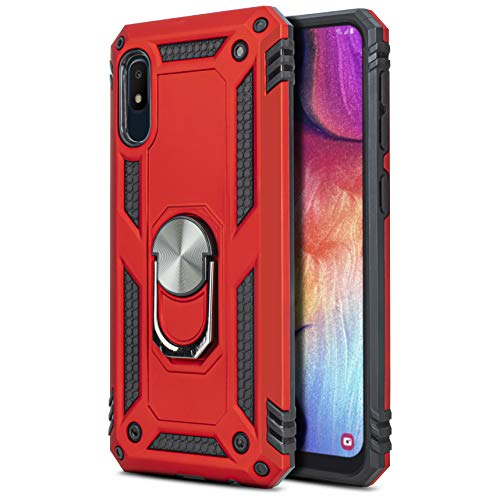 CasemartUSA Phone Case for [Samsung Galaxy A10E], [Loop Series][Red] Full Rotating Metal Ring Cover with Kickstand for Samsung Galaxy A10E (Tracfone, Simple Mobile, Straight Talk, Total Wireless)