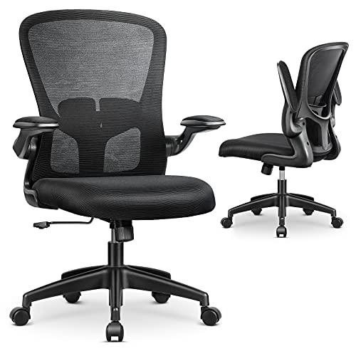MFAVOUR 椅子 オフィス オフィスチェア デスクチェア パソコンチェア イス 跳ね上げ式アームレスト 疲れない椅子 コンパクト 通気性 360度回転 座面昇降 強化ナイロン 静音PUキャスター 勉強 事務 テレワーク 一年間無償部品交換保証 (Bla