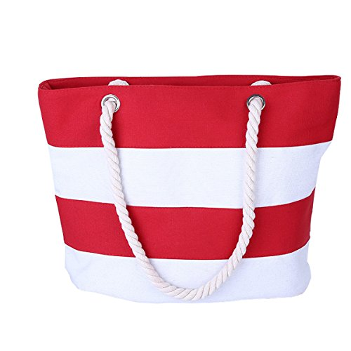Cotton Canvas Tote Beach Bag With Zipper Top Handle Handbag Shoulder Bags Shopping Bag from Nevenka (Style 1, Red White)