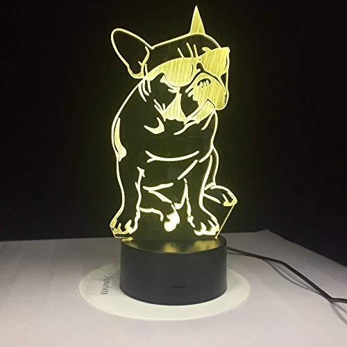 Nachtlicht 3D Schlaflampe Französische Bulldogge Mit Sonnenbrille 3D Led Nachtlicht Frenchie Dog Dekorative Beleuchtung Farbwechsel Acryl Lampe Geschenk Für Hundeliebhaber