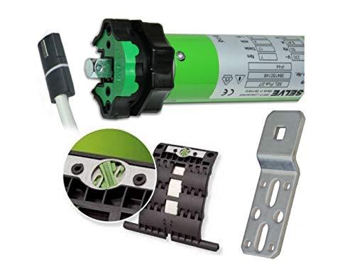 smarotech® Rollladen-Nachrüstset: Rohrmotor Selve SEL Plus 2/7 inkl. Einbruchschutz durch patentierte SecuBlock, 4-Kant-Lager, Anschlusskabel und SW 60 Adapter. (SEL Plus 2/7 mit 3 St. SecuBlock)