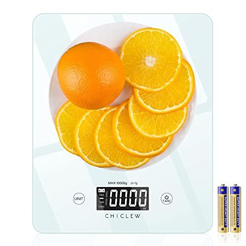 CHICLEW Peso Cocina Digital, Bascula Cocina Digital Precision 10 kg / 22 lbs, Balanza Cocina con Pantalla LCD Retroiluminada, Bascula de Cocina Multifuncional para Cocinar, Hornear