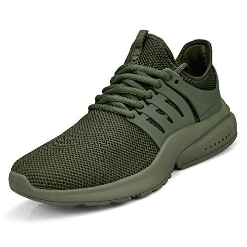 ZOCAVIA Herren Damen Sportschuhe Leichte Sneaker rutschfest Tennis Slip On Schuhe Breite Fashion Turnschuhe Grün 47