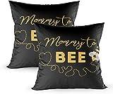 Fundas de almohada, 2 plantillas de invitación para baby shower con mamá a abeja decorada con corazón de abeja lindo 45,7 x 45,7 cm, decoración del hogar, fundas de almohada con cremallera para sofá