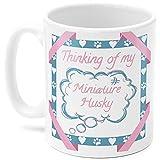 DKISEE Taza de café blanco de 325 ml con forma de husky en miniatura, Thinking Of My Husky Dog en miniatura, regalo para amantes de perros, en casa, oficina, taza de té
