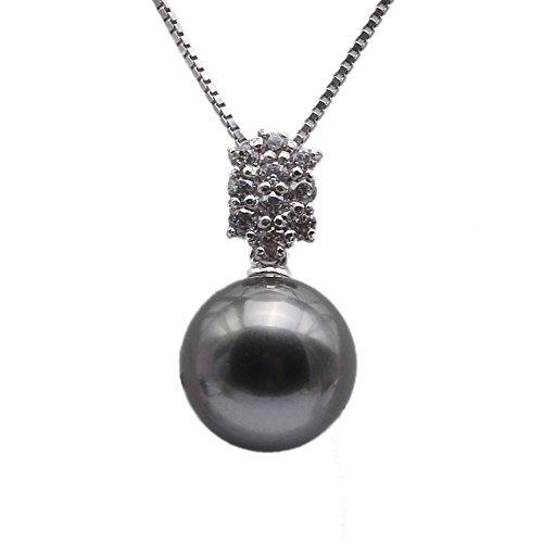 JYX Echte AAA tahiti perle Perlenkette Tahiti 9,5 mm kultivierte schwarze Tahiti-zuchtperle Anhänger Halskette in Sterling Silber 45 cm