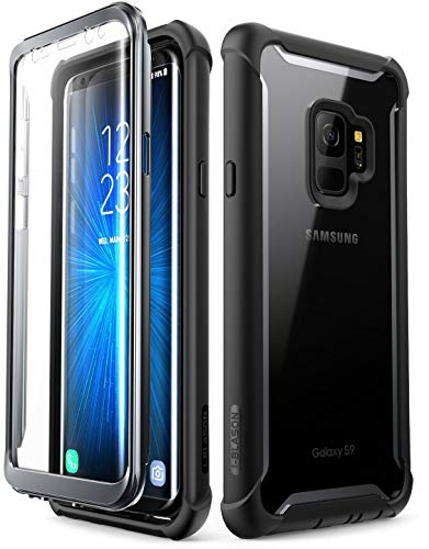 i-Blason Samsung Galaxy S9 Hülle Ares Bumper Case 360 Grad Handyhülle Robust Schutzhülle Clear Cover mit integriertem Displayschutz, Schwarz