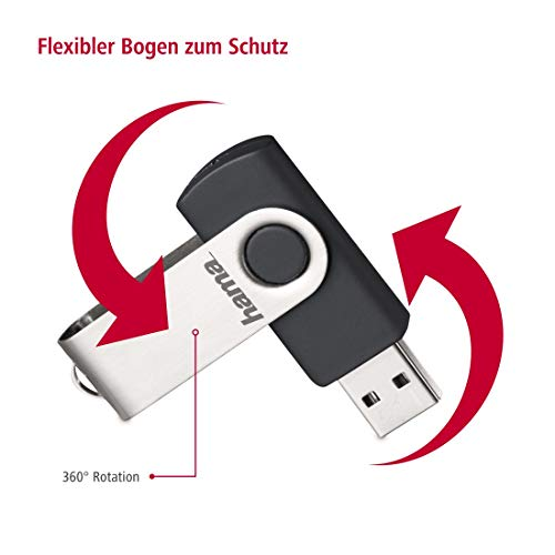 Hama 128 GB USB-Stick USB 2.0 Datenstick (10 MB/s Datentransfer, mit Öse zur Befestigung am Schlüsselring, Speicherstick, Memory Stick aus Metall, geeignet für Windows/MacBook) silber