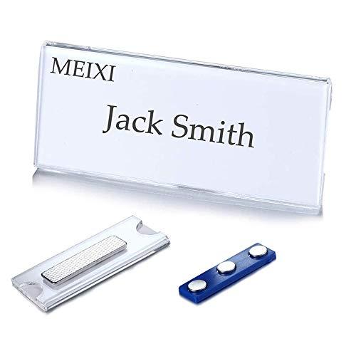 Namensschilder Für Kleidung, Ausweishalter, Ausweishülle, Selbstklebend Magnetisch Namensschild Schilder Kleidung Metall Namensschild Halter mit 3-Punkt Magnet für Ausweishüllen Beschriften (10 Pcs)