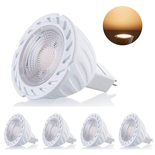 GU5.3 LED Lampe Warmweiß 4 Stück 7W MR16 LED Leuchtmitte 500lm GU5.3 COB LED Warmweiss Licht 2800K AC/DC 12V 38° Abstrahwinkel LED Birnen