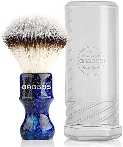 シェービングブラシ ひげブラシ Anbbas 純粋なバッガーヘア ナイロンの毛 木製ハンドル 毛長さ24mm 髭剃り 泡立て 洗顔ブラシ メンズ (ブルー)