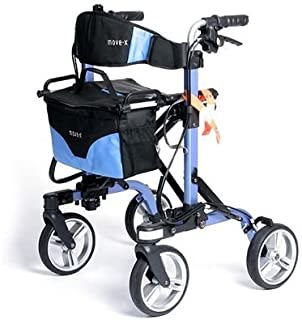 MOVE-X Folding Rollator Deluxe 4-wheel Walker Foldable Light Weight - Blue from
