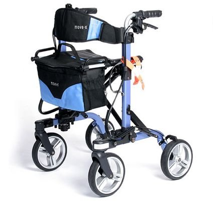 MOVE-X Folding Rollator Deluxe 4-wheel Walker Foldable Light Weight - Blue from