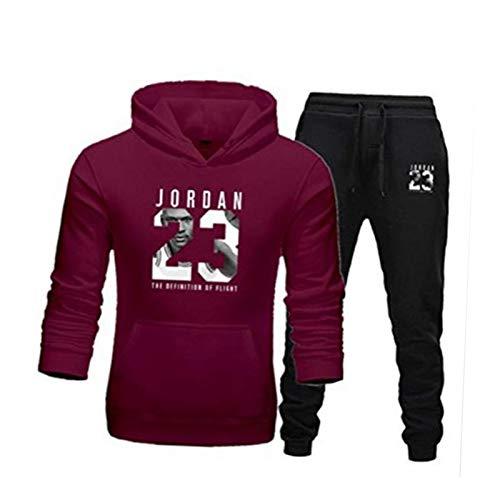 Jordan 23# Conjunto de Traje de chándal para Hombre, Baloncesto Uniforme de Jogging Hoodies + Pantalones Sports Traje Conjuntos Joggers Pantalones 22-S