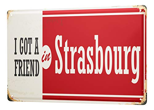 LEotiE SINCE 2004 Blechschild Retro Metropole Straßburg Frankreich