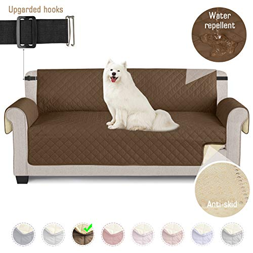 TAOCOCO Sofaschoner Sofa Abdeckung wasserdichte Sofa Überwürfe mit elastischen Riemen Rutschfes für Hunde Haustieren, Abnutzung und Riss schützen (Braun, 3 Sitzer)